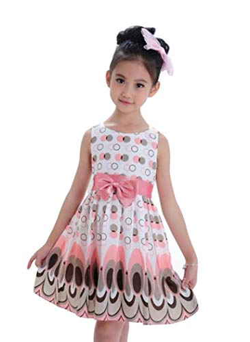 VEZAD Dress for Kids Girls Bow Belt Sleeveless Bubble Peacock Party Clothing Outfits
