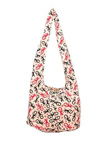 Avarada Thai Cotton Hippie Hobo Sling Crossbody Bag Messenger Purse Bohemian Gecko Print Beige