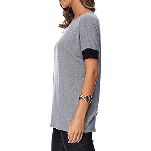 Mode Shirt Tshirt lgant Fit Col Tee Shirt Femme Grau Spcial Haute Tops Manche Et Manches T Casual Rond Style Qualit Courtes Slim Haut De Uni ZgqEZ