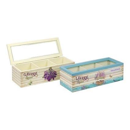 2 Cajas Decorativas Para el Té Flor Lavanda. Accesorios. 7 x 22.5 x 8.5