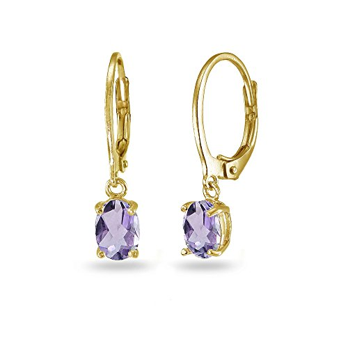 LOVVE Yellow Gold Flashed Sterling Silver Amethyst 7x5mm Oval Dangle Leverback Earrings