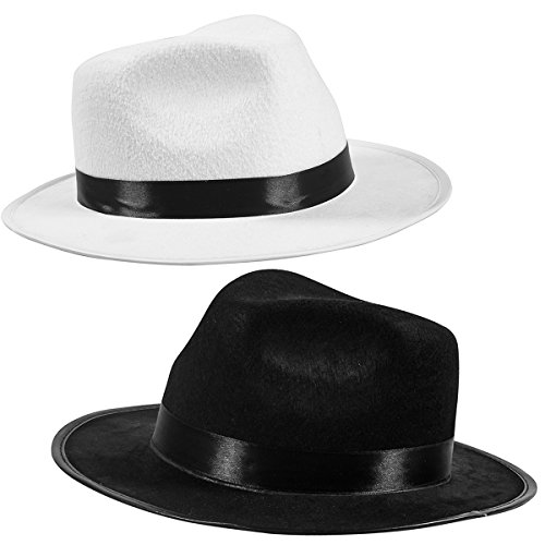 [Black Fedora Gangster Hat Costume Accessory - Funny Party Hats (2 Pack - Black & White)] (Mafia Themed Costume)