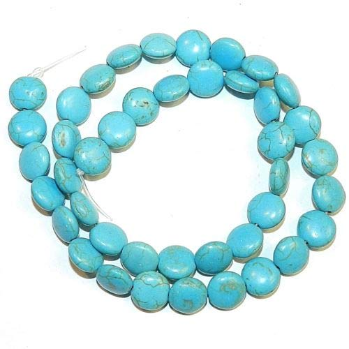 NG2759 Blue Turquoise 8mm Flat Puffed Round Coin Magnesite Gemstone Beads 15'' Crafting Key Chain Bracelet Necklace Jewelry Accessories Pendants