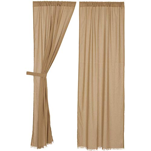 Nancy's Nook Tobacco Cloth Khaki Panel Fringed (set