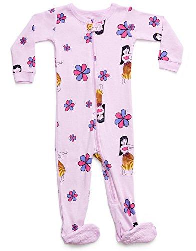 Leveret Kids Organic Cotton Hula Baby Boys Girls Footed Pajamas Sleeper (Size 2 Toddler)
