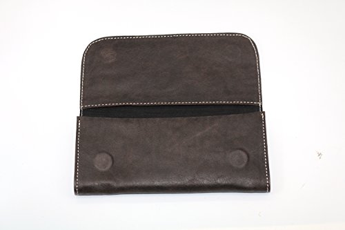 Pure Leather Rolling Tobacco Case with Multiple Pockets and erZip Around Closure Vintage Brown