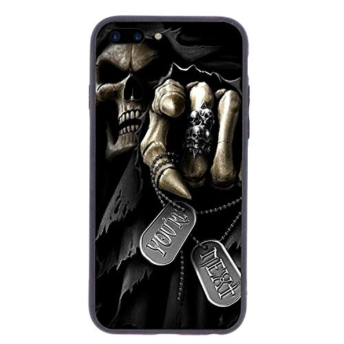 CHUFZSD Grim Death God Skull iPhone 7/8 Plus Case Soft Flexible TPU Anti Scratch Shock-Proof Protective Shell Compatible Phone Case Cover (5.5 -