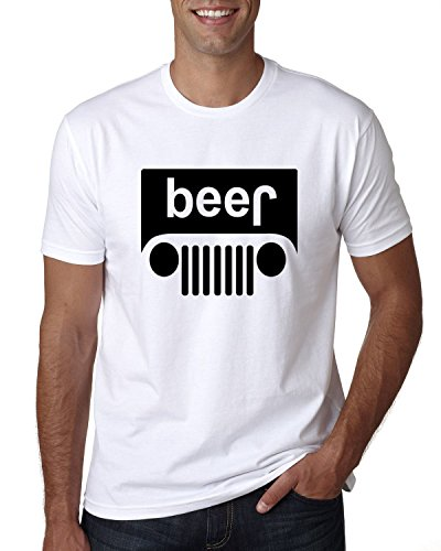 Beer Logo | Cars and Trucks Parody Humor Alcohol | Mens Drinking Tee Graphic T-Shirt, White Black, X-Large