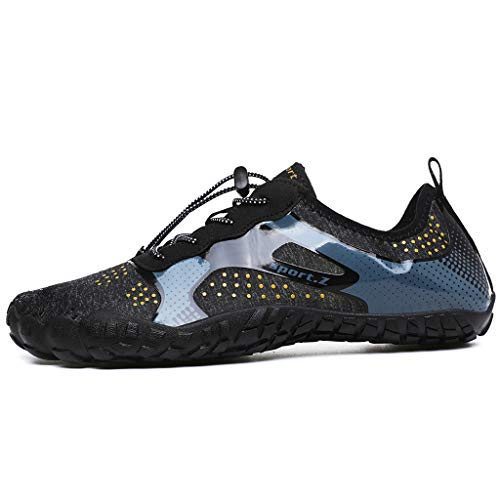 Water Shoes for Men 2019 New Athletic Sport Shoes Quick-Dry Sock Outdoor for Kayaking,Boating,Hiking,Surfing,Walking (US:10, Black)