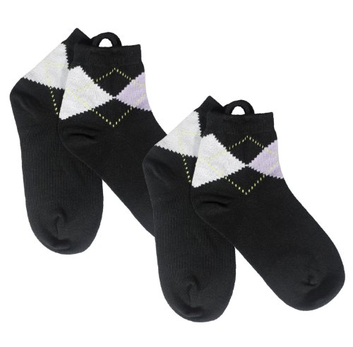 Argyle Anklet Arthritis Socks (Black) Easy Pull Up (Pull Up Socks)