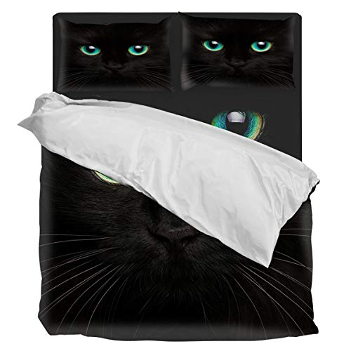 Aiesther Bedding Set Duvet Cover 4 Piece Black Cat with Teal Eyes Soft Twill Plush Quilt Cover, Include 1 Duvet Cover 1 Flat Sheet and 2 Pillow, for Adults Children Boys Girls Twin -