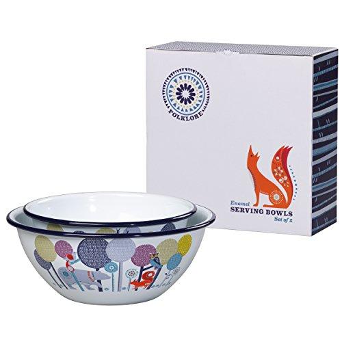 Folklore Enamel Set of Serving Bowls, Day Design, Set of 2 Woodland Pasta Bowl