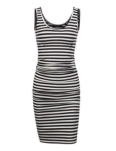 A.F.Y Women's Slim Fit Midi Tank Dress WHTBLK Stripe L]()