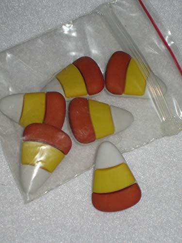 Decorative Craft - Primitive 6 Halloween Candy Corn Plastic Novelty Shank Buttons 7/8'' - Great Item for Wedding, Album Art,Scrapbooking -