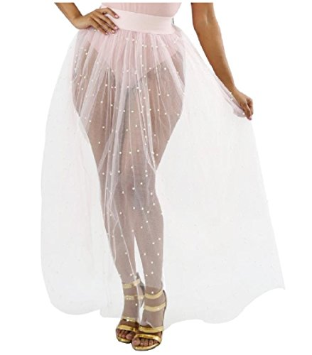 Mesh Full Skirt - Coolred-Women Big Pendulum See Through Pure Color Mesh Nail Bead Sexy Full Length Skirts White XL