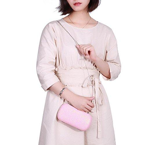 Wallets Party Chain Evening Bags Wedding Shoulder Glitter Hard Women Everpert Pink Clutch 1Sfwq8IxZ