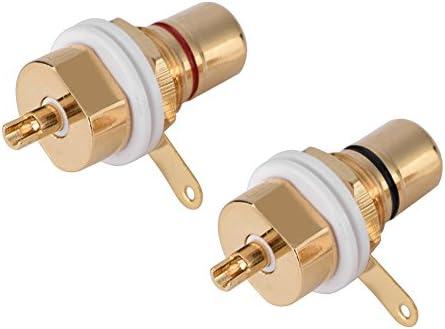 RCAメスソケットコネクタ2個、金メッキ銅オーディオ端子、RCAメスシャーシパネル取り付けソケット