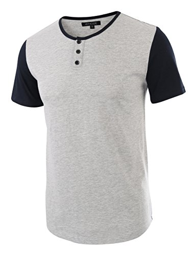 HETHCODE Men's Classic Comfort Soft Regular Fit Short Sleeve Henley T-Shirt Tee H.Gray/Navy XXL