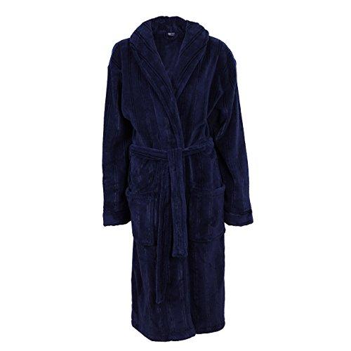 Cedarwood State Cedar Wood State Robe Nightwear Navy Blue Mens Fleece Hooded Dressing Gown
