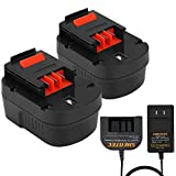 Shentec 2-Pack Ni-MH 3500mAh 12V Battery Compatible with Black and Decker 12V A1712 FS120B FSB12 HPB12 A12 A12-XJ A12EX Firestorm FS120B FS120BX (Battery Charger Included)