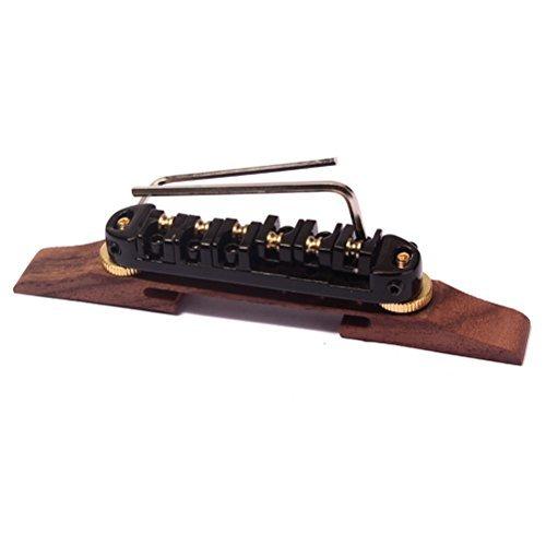 ULTNICE Archtop Jazz Guitar Bridge with Gold Roller Saddles Rosewood Black B-20