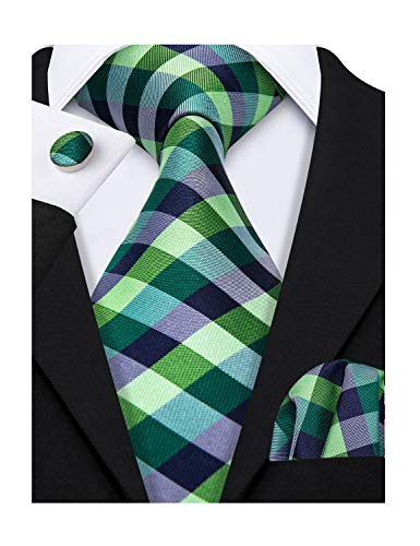 St Patrick's Day Green Ties for Men Check Tie Set Wedding -