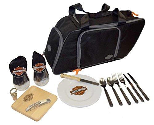 Harley-Davidson Saddlebag Picnic Set, Bar & Shield Logo, Black 435-42