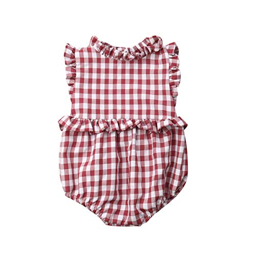 Hwaikun Baby Girl Ruffle Sleeveless Romper Toddler Button Jumpsuit Newborn Elegant Casual Bodysuit 0-24M (Red-White Plaid, 12-18 M)