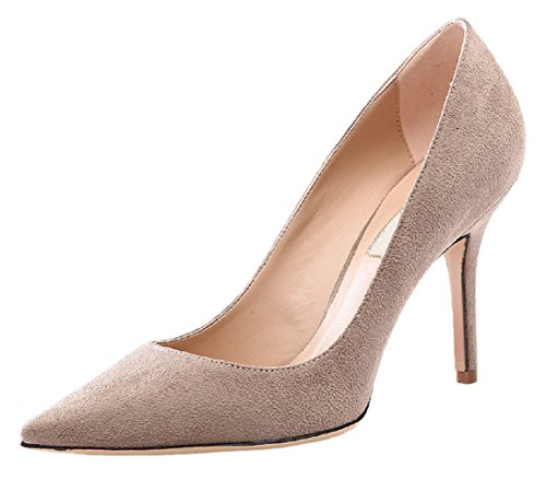 012 Toe Stiletto Pumps Flanell HooH Pointed Beige Damen 4gwBYWqF