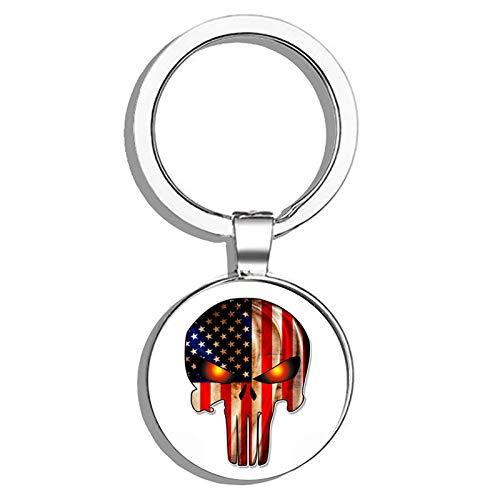 HJ Media Punisher Skull American Flag Metal Round Metal Key Chain Keychain Ring