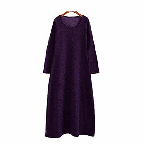 Eault Elegant 2016 Thickening Women Winter dress,long Sleeve Autumn maxi dress,Plus size M- 5XL 6XL Warm Fur Fleece women basic dress vestidos dark purpleL - Ri In Stores Newport