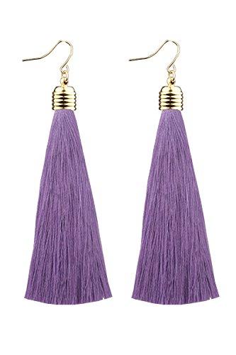 Mina Gold Long Tassel Draping 4 inch Drop Extra Long Shoulder Duster Lilac Purple Earring