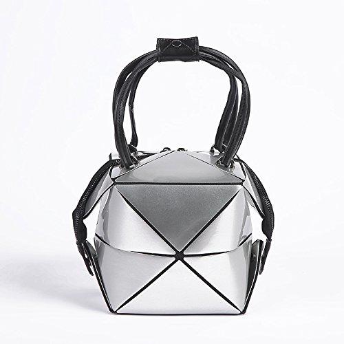 Shoulder Bags White Evening Sac Clutch Versatile Bag Sale HandbagWomen Messenger Leather Casual Pu Geometric Folded Silver Bag I5wpOfq