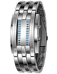 Mastop Luxury Men's Waterproof Stainless Steel Date Digital LED Bracelet Sport Watches (Silver)