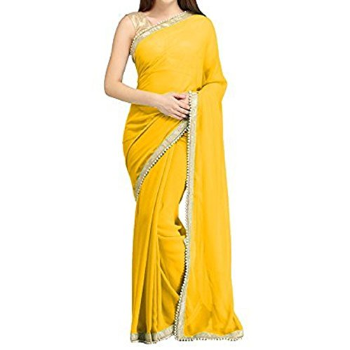 Ruchi Mart Bollywood Indian Georgette Saree Party Wear Ethnic Wedding Beaded Sari Blouse Choose Color