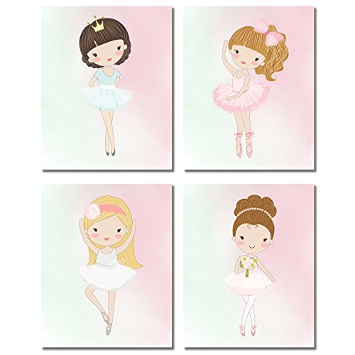 Cute Ballerina Dancer Girl Prints - Bedroom Playroom Wall Art Decor Prints - Set of Four 8x10 - Ballerina Room Decor