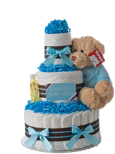 Diaper Cake - Darling Boy Theme Handmade by Lil Baby Cakes - Baby Boy Gift - Makes a Great Baby Shower - Diaper Baby Centerpiece Shower