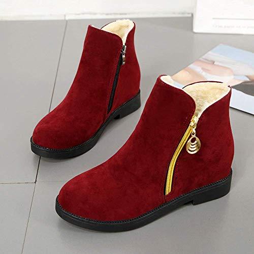 Punta 5 Donna Rosso Dimensione Rotonda Uk Calde Cerniera 4 Camoscio Fuxitoggo Scarpe In Stivali colore Per Rosso Martain Piatte pafUWUzB