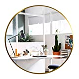 Elevens Wall Round Mirror - Popular 24 Inch Round Wall Mounted Decorative Mirror - Metal Frame, Best for Vanity Washrooms Bathroom and Living Rooms- Gold