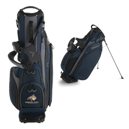 Montana State Callaway Hyper Lite 4 Navy Stand Bag 'Bobcat Head w/ Montana State Bobcats Stacked' by CollegeFanGear (Image #1)