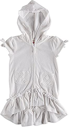Flapdoodles Girls's Terry Hooded Swimsuit Beach Cover Up (10, White) - White Terry Hooded Cover Up
