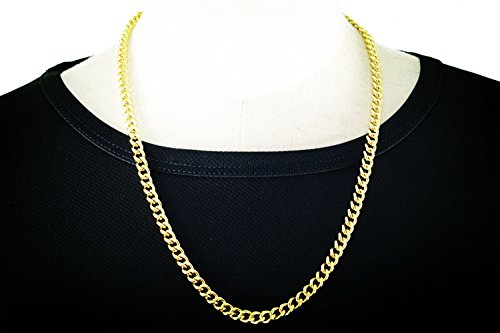 [Passionate Adventure Mens Cuban Stainless Steel Jewelry Necklace Gold 24 Chains] (Easy Homemade Mermaid Costumes)