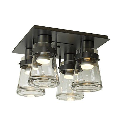 Hubbardton Forge 128710-10-ZM467 Erlenmeyer 4 Light Semi-Flush Pendant, Clear Glass, Black Finish