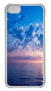 iPhone 5C Case and Cover -Blue sunrise PC Hard Plastic Case for iPhone 5C Transparent