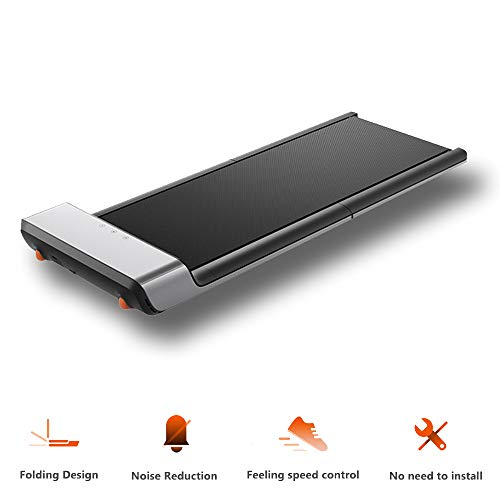 Novpeak Smart Folding Treadmill, Under Desk Portable Noiseless Walking Pad A1 with Footprint Sensing Digital Electric Slim Foldable Fitness Jogging Training Cardio Workout for Home Office 0-6KM/H