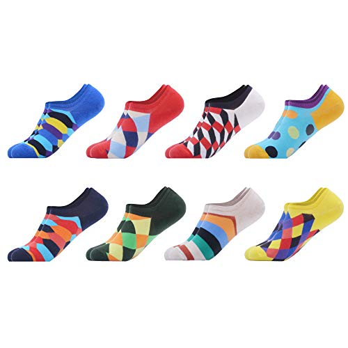 WeciBor Mens Colorful Cotton Low Cut No Show Casual Crew Ankle Non-Slide Socks (A058-10)
