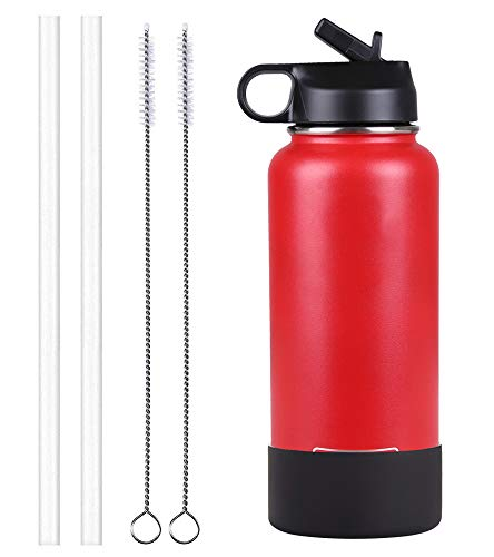 Sportula Double Wall Vacuum Insulated Stainless Steel Sports Water Bottle, Wide Mouth with 1 Sport Lid, 2 Straws, 2 Cleaning Brushes and 1 Silicone Boot (Lava Red, 32 - Ounce Red Silicone 32