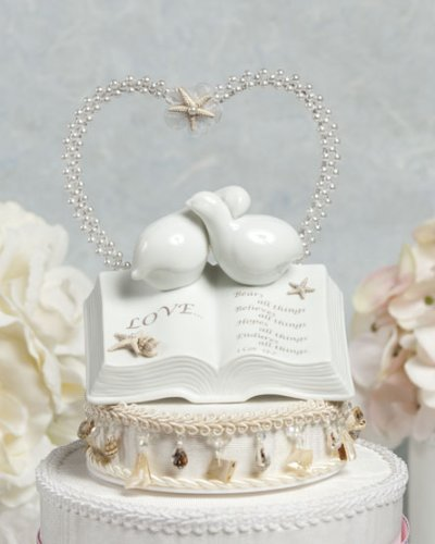 Wedding Collectibles BEACH SHELL Porcelain Love Verse Bible with Doves and Starfish Seashells Beach Accents Wedding Cake Topper