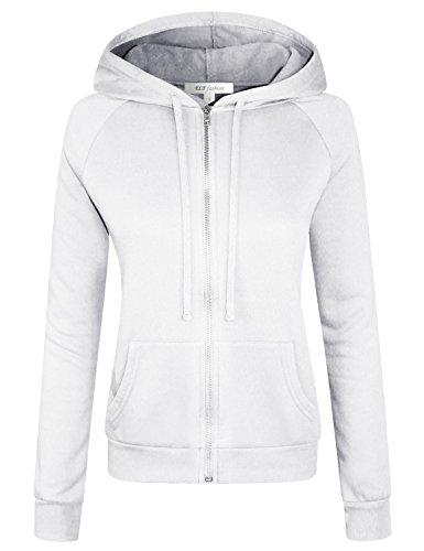 ELF FASHION Women Long Sleeve Drawstring Hoodie Zip Up Jacket W/Kangaroo Pocket Inner Brushed OFFWHITE M