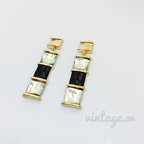 Byzantine Diamond Earrings - Byzantine elegant retro black and white diamond earrings earrings